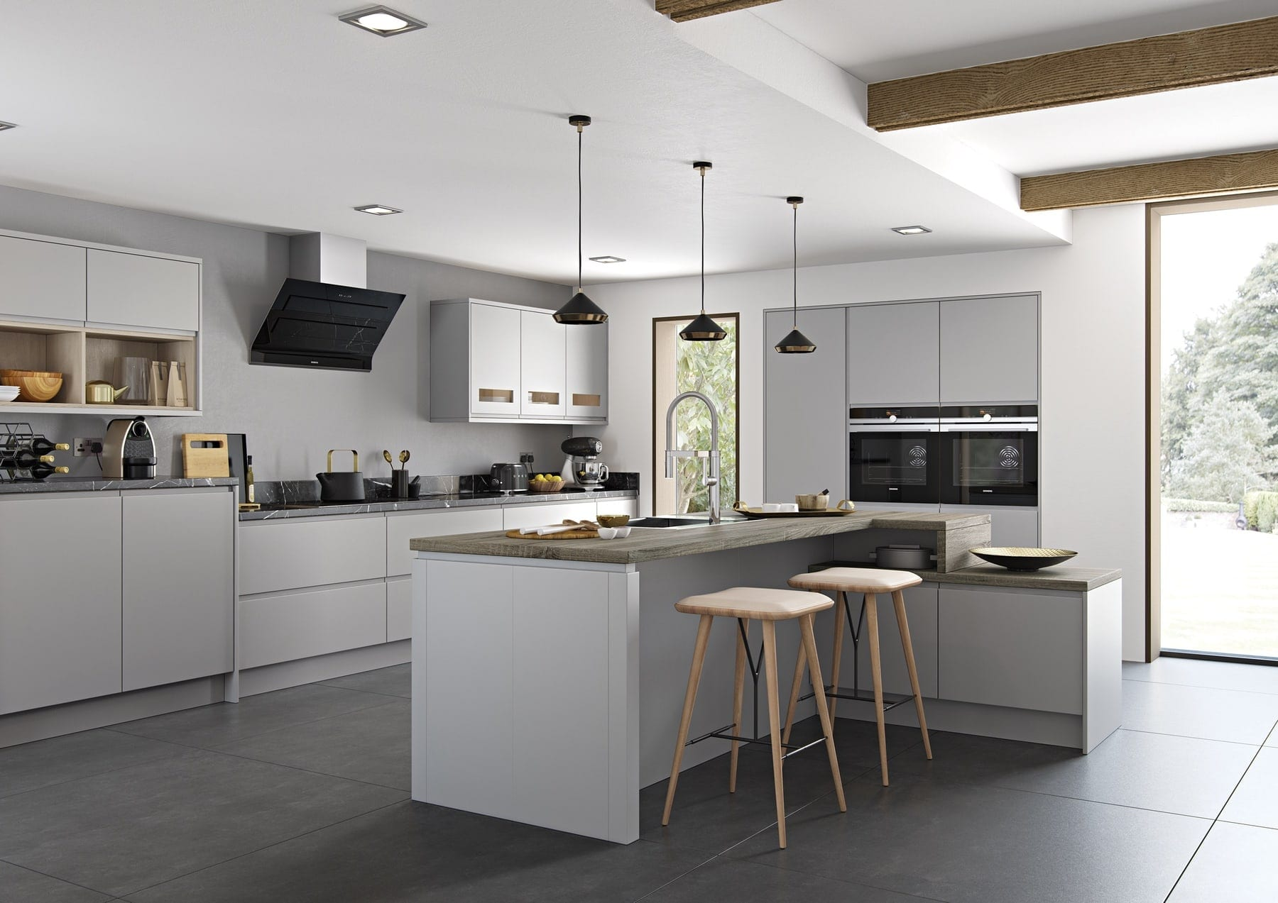 Strada Matte Light Grey L Shaped Kitchen With Island 1 | Colour House Interiors, Caterham