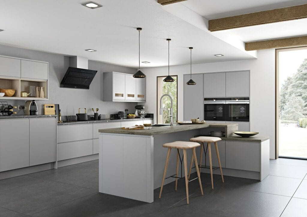 Strada Matte Light Grey L Shaped Kitchen With Island | Colour House Interiors, Caterham