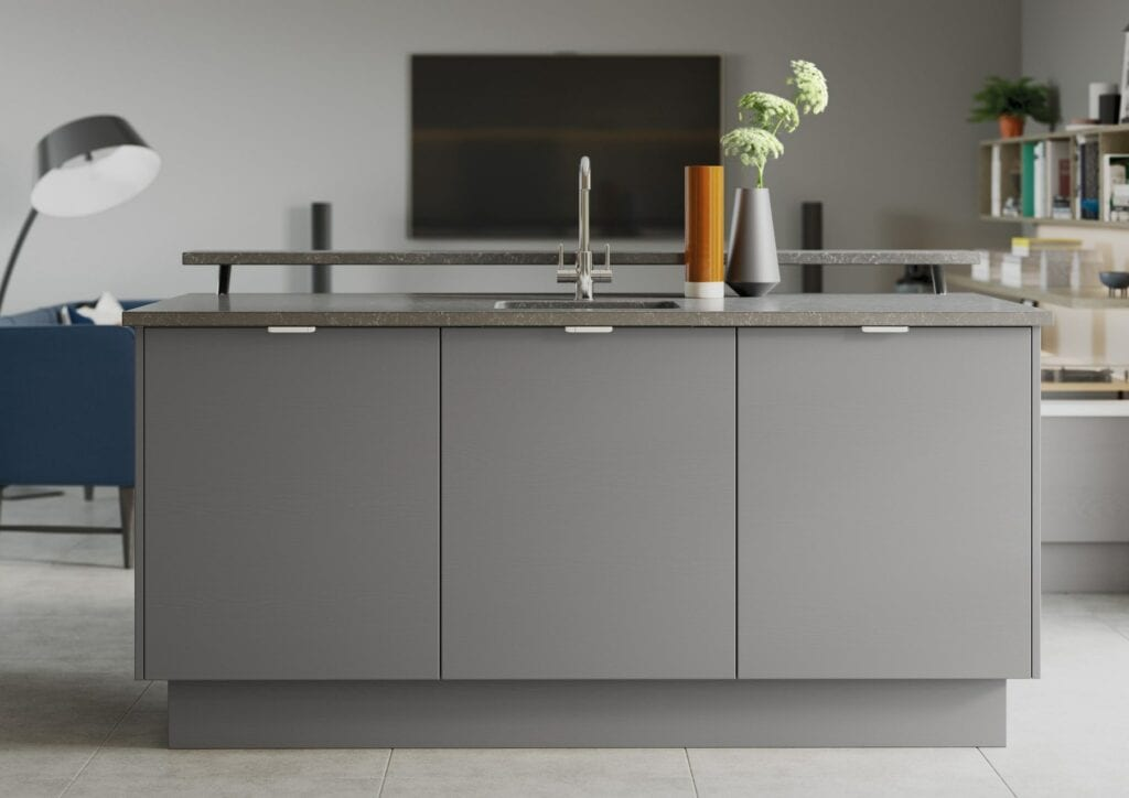 Tavola Shell And Dust Grey Kitchen Island 1 | Colour House Interiors, Caterham