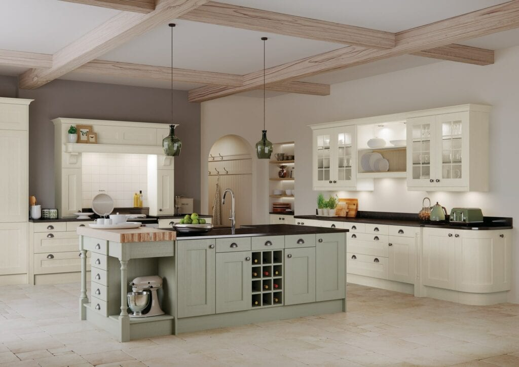 Wakefield Ivory And Sage Green Shaker Kitchen | Colour House Interiors, Caterham