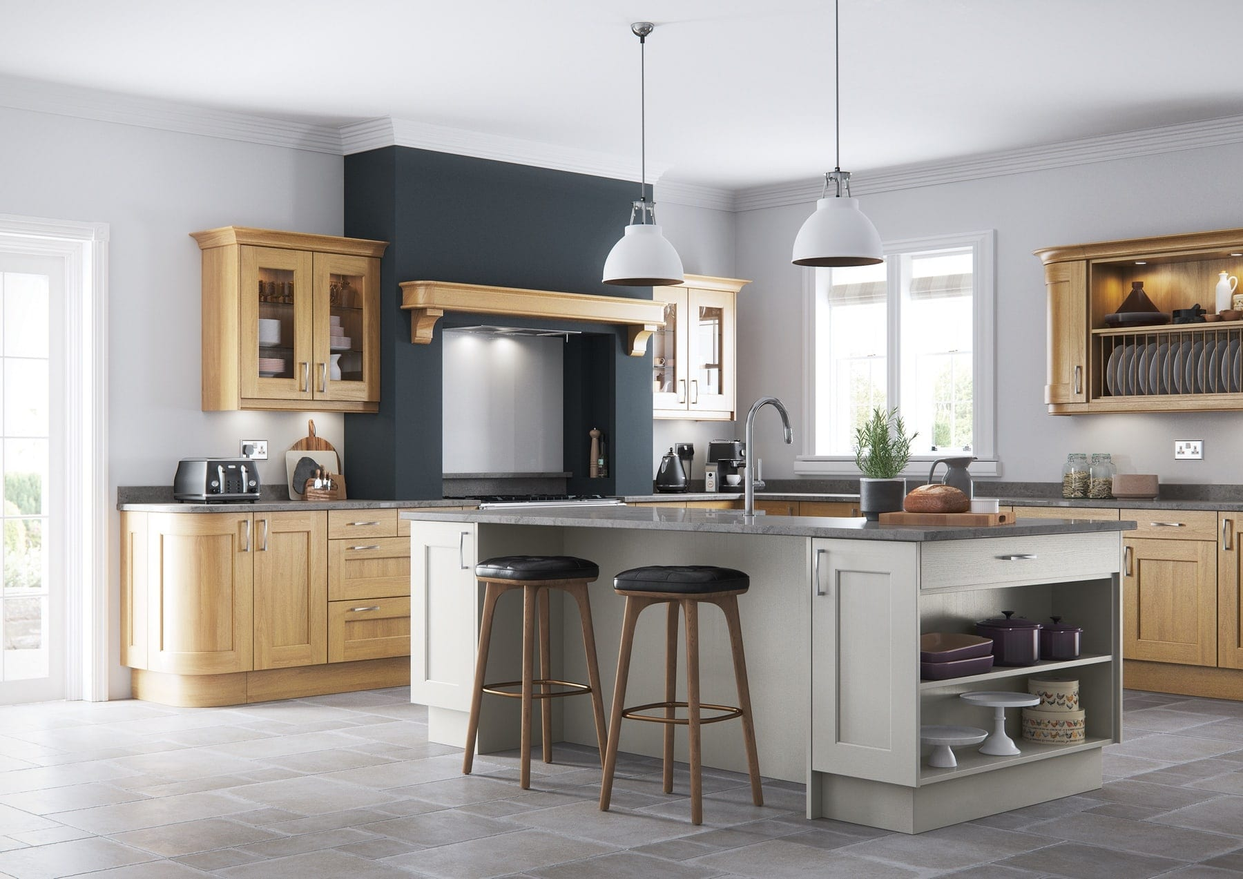 Wakefield Light Oak And Stone Shaker Kitchen With Island | Colour House Interiors, Caterham