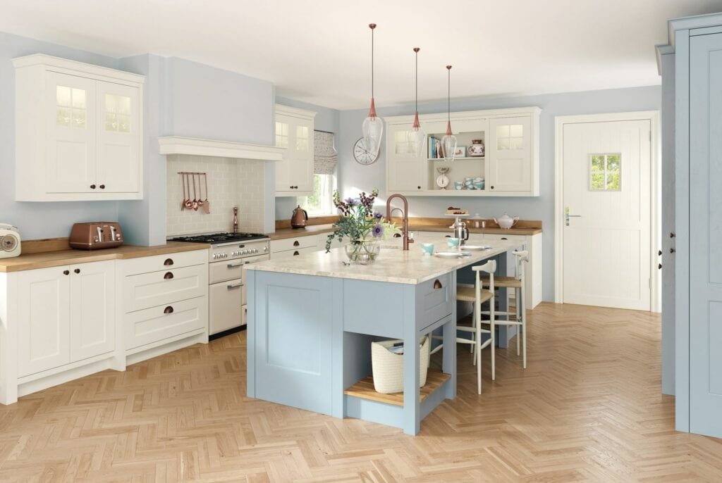Wakefield Porcelain And Pantry Blue Shaker Kitchen | Colour House Interiors, Caterham