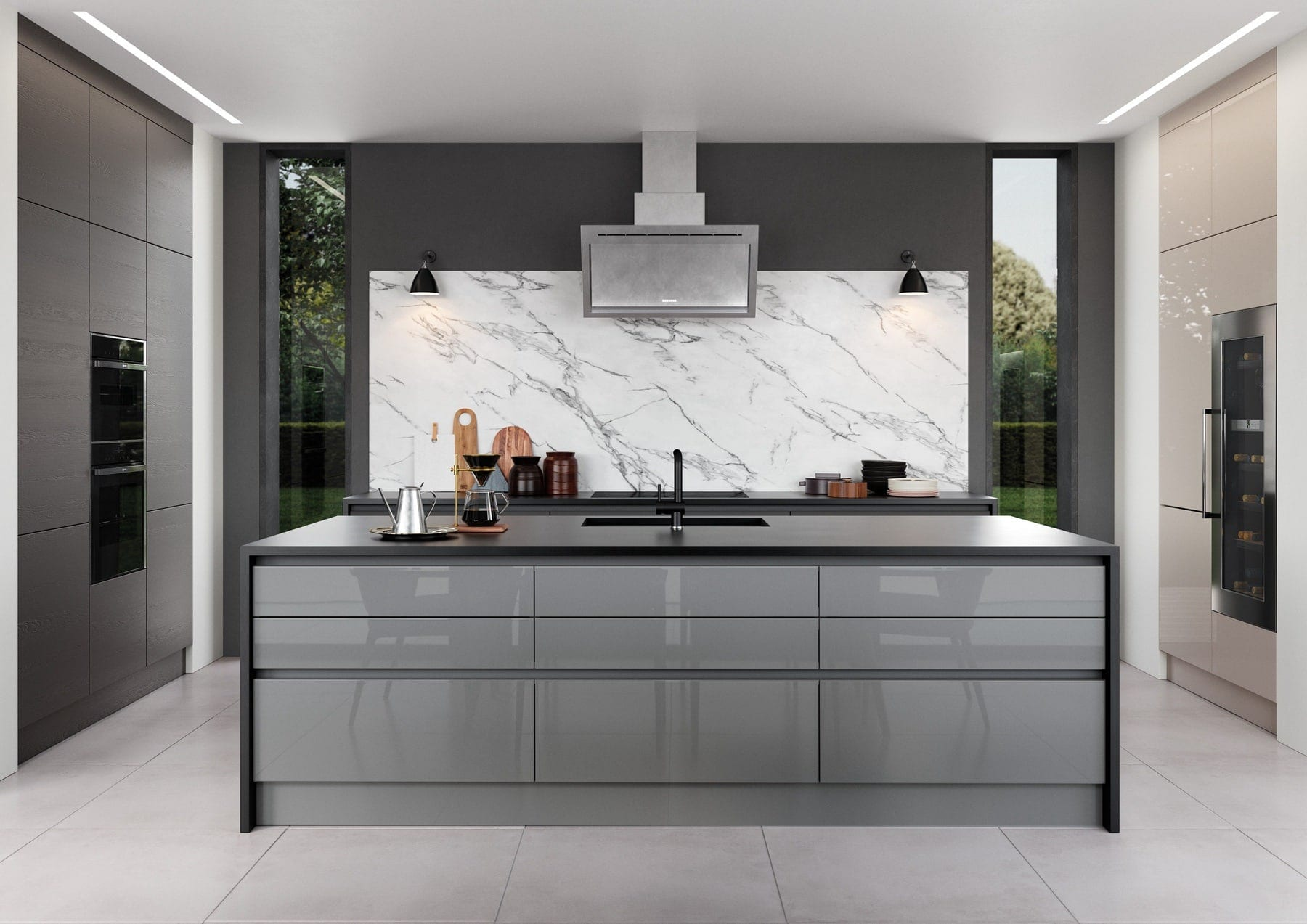 Zola Gloss Dust Grey And Tavola Carbon Kitchen With Island   Colour House Interiors, Caterham