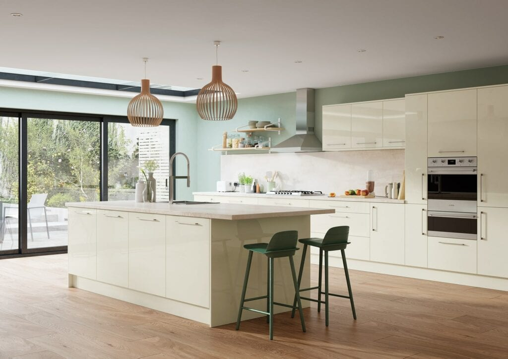 Zola Gloss Porcelain Kitchen With Island | Colour House Interiors, Caterham