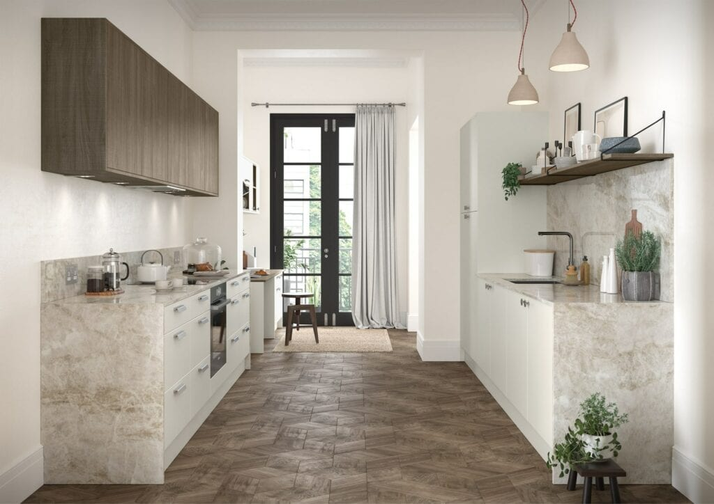 Zola Soft Matte Porcelain And Rezana Weathered Silver Gallery Kitchen | Colour House Interiors, Caterham