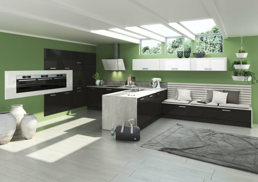 Bauformat Monochrome Gloss Kitchen With Lime Green Wall 1   MHK Kitchen Experts