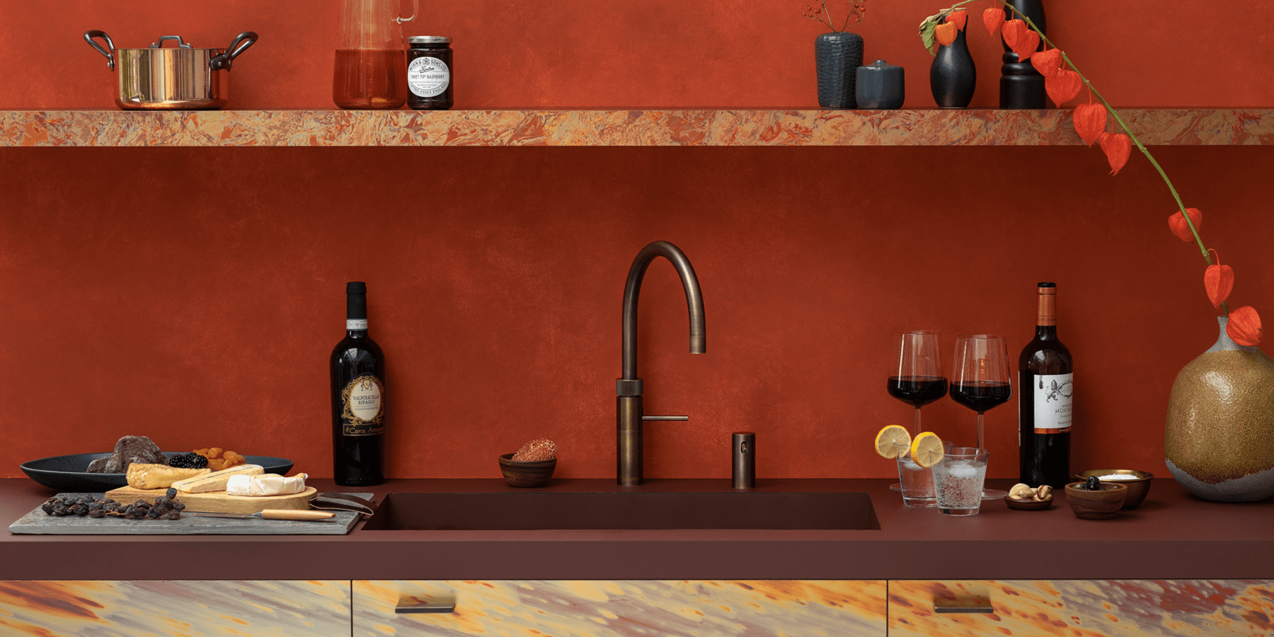 Boiling water tap - Quooker- Fusion Round Patinated Brass | MHK Kitchen Experts
